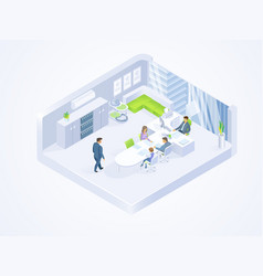 business people working in office isometric vector image
