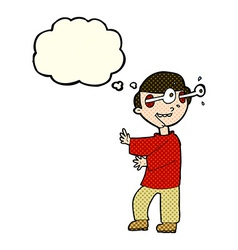 Cartoon boy with popping out eyes with thought vector