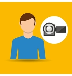 Character man movie concept photo video camera vector