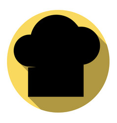 chef cap sign flat black icon with flat vector image