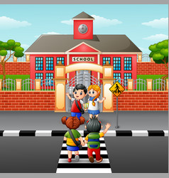 children crossing the road vector image