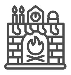 Christmas fireplace line icon xmas interior vector