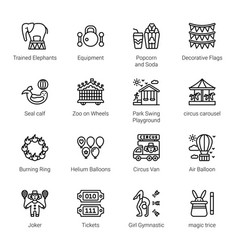 Circus elements outline icons - stroked vector