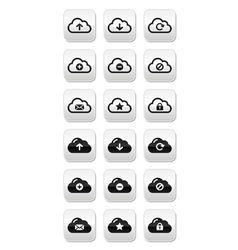 Cloud buttons set for web vector image