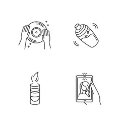 Clubbing pixel perfect linear icons set night vector
