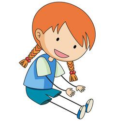 Cute girl doodle cartoon character isolated vector