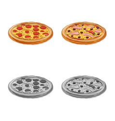 Design of pizza and food symbol set of vector
