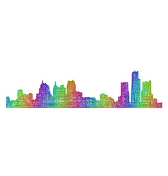 Detroit skyline silhouette - multicolor line art vector
