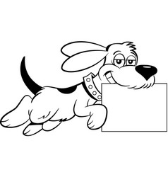 Dog leaping while holding a sign in its mouth vector