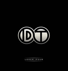 Dt initial letter linked circle capital monogram vector