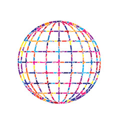 earth globe sign stained glass icon on vector image