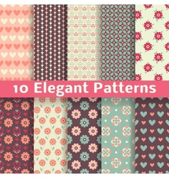 Elegant romantic seamless patterns tiling Retro vector