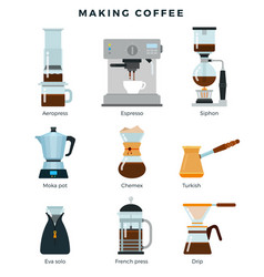 Equipment for various ways to brew coffee vector