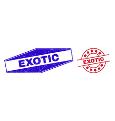 Exotic unclean stamp seals in round and hexagon vector