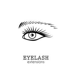 Eye eyelash extensions vector