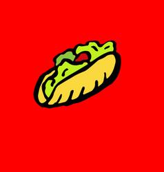 Fast food meal grunge icon kebab ink vector