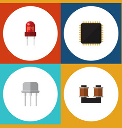 Flat icon device set of resist coil copper cpu vector