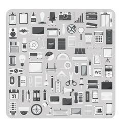 Flat icons modern office set vector