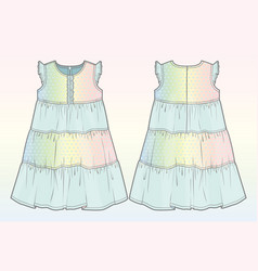 Front and back view of a summer dress vector