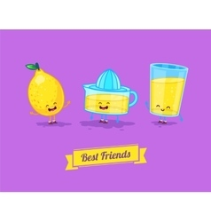 funny cartoon Funny glass lemon and vector image