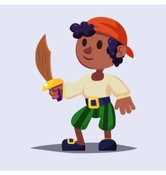 Funny cute cartoon Boy pirate kid with wooden vector image