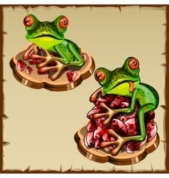 Funny frog picture on a pile precious stones vector