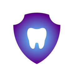 glowing tooth image inside a purple shield tooth vector image