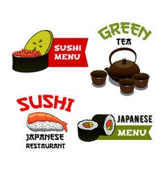 icons of sushi for japanese restaurant menu vector image