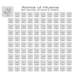 Icons with 99 names god in islam vector