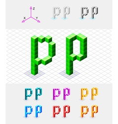 Isometric font from the cubes Letter P vector image