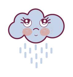 Kawaii raining cloud thinking with cute eyes vector