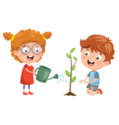kids planting vector image