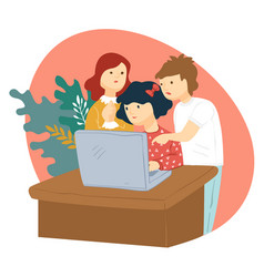 kids watching videos or playing games on laptop vector image