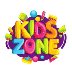 Kids zone cartoon logo vector