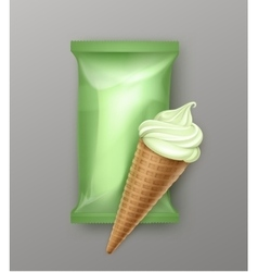 Kiwi Mint Ice Cream Waffle Cone with Foil vector image