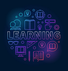learning round colored concept outline vector image