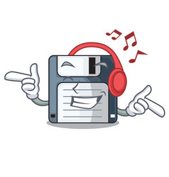 Listening music floppy disk in the character funny vector