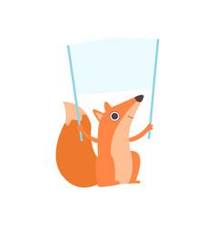 Little fox holding empty banner cute cartoon vector