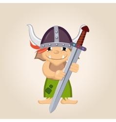 Little Kid Dressed As Viking vector image