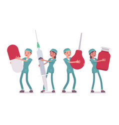 Male and female nurse with big tools vector