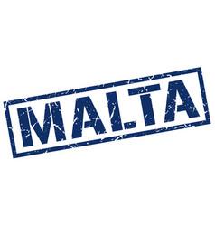 Malta blue square stamp vector