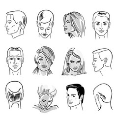 Man hairstyle head set vector