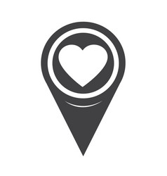 Map pointer heart icon vector