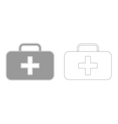 Medical case grey set icon vector