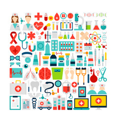 medicine and health objects set vector image