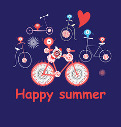 merry summer card with funny bicycles vector image
