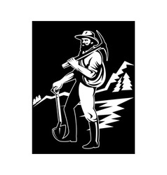 miner with with pick axe and shovel vector image