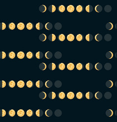 Moon phases seamless pattern vector
