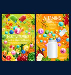 multivitamins complex in food health care vector image