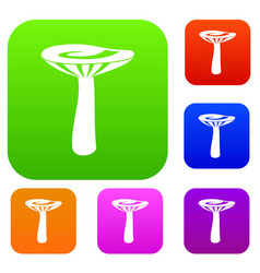 mushroom set color collection vector image